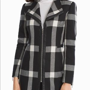 WHBM Plaid Faux Leather Trim Zip Jacket